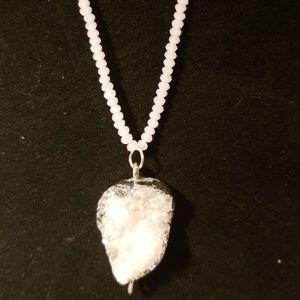 Druzy beaded necklace w/pendant